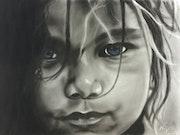 Wild child with blue eyes.
