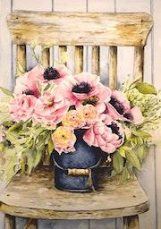 La chaise fleurie.
