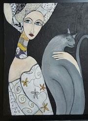 Femme Médièval et son chat. Jeannine Guillaume Artiste Coté