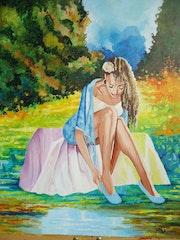Jeune fille au bord de l'eau.