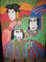 Trio samouraïs et geisha.