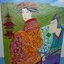 Pagode Japon Couple samouraï et geisha. Nath Créative