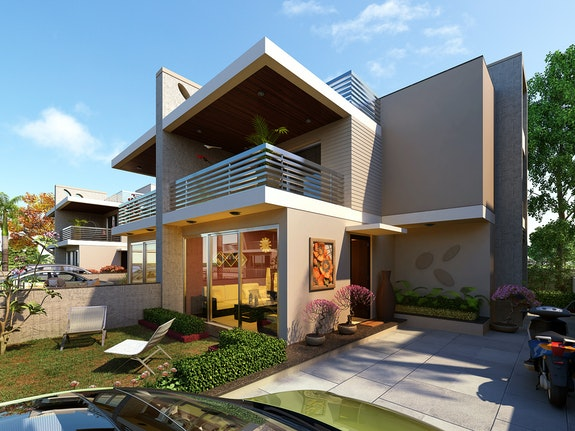 Exterior Cgi View Design Rendering For 3d Residental Home.  Kcl Solutions