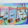 Des barques vers Collioure. Jean-Claude Robin