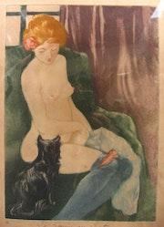 La femme au chat - Charles Maurin.