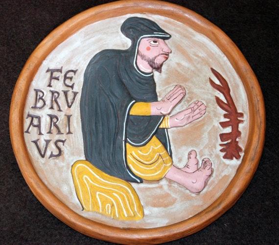 Febrero - Medallón hecho a mano en barro cocido policromado.. Ceramicamanos Ceramicamanos