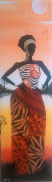 Mujer afro en rio atardecer.