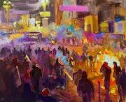 Contemporary impressionist artwork «Maidan. Colors Of Revolution. ».. Nikita Manokhin