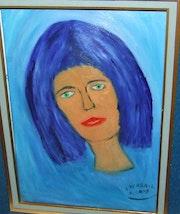La dame au cheveux bleu.