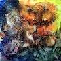 Abstraction (Essai) - Peinture à l'encaustique sur bois - 40x40. Christiane Fages - Gramont