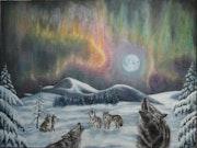 Les loups et l'aurore boreale.