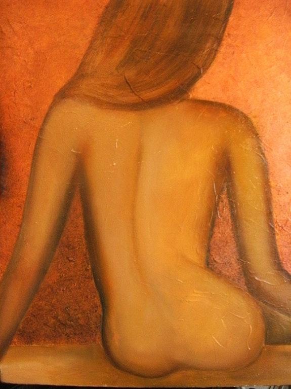 Jeune femme songeuse, assise de dos. Jigée Jigée