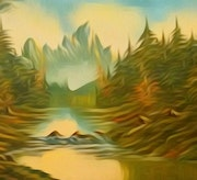 Mountains, Trees and River. Amitabh Bhushan