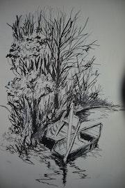 Les barques au bord de l'eau. Jean-Pierre Lemoine