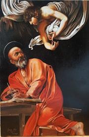Saint Matthieu et l ange d apres le Caravage.