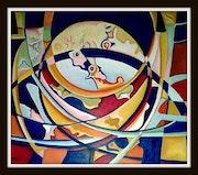 Composition ovale huile sur toile 110 cm X 130 cm 2017.
