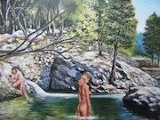 Deux baigneuses dans la nature.