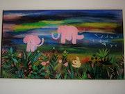 Le joueur de flûte avec les éléphants roses.