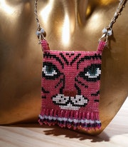 Pink Prowler Cat Beadwork Pendant Necklace. Laurie Silva