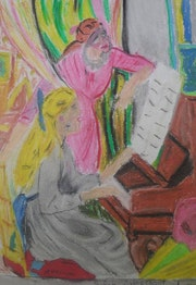 Jeune fille au piano. Paris 14 (Kabyliens)