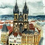 The Tyn church from the astronomic clock tower. L'aquarelle En Voyage.