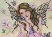 Spring fairy- Butterflies and magnolia flowers.