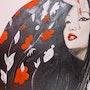 Geisha au kimono fleuri. Alessa