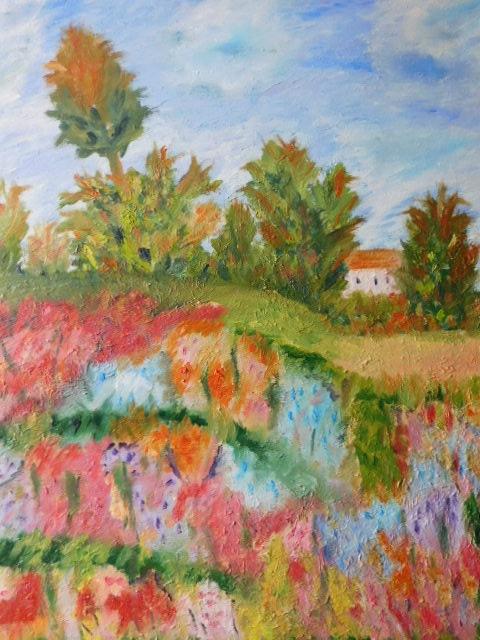 Etendu de fleurs multicolores.  Josiane Joly