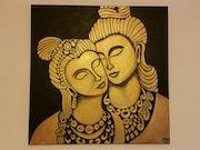 Buda y Radha (dorado y negro).
