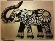 Elefante de la suerte (negro y plata).