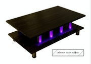 Table basse design L'Impériale 30 led fuchsia sans fil.