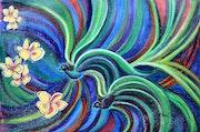 Bird Symphony With Frangipani. Artbymanjiri