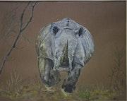 Rhinocéros en charge. Sandrine Moukvoz