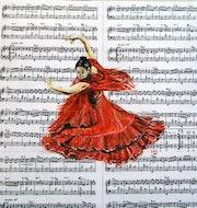 Danseuse de flamenco, huile sur partitions marouflées sur bois.