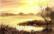 Puesta del sol sobre el lago.