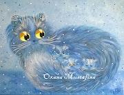 Peinture acrylique «Chat bleu avec ses chatons».