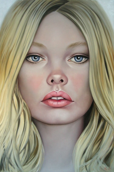 Early Spring. (Xl Large painting 120x80cm. ) Beautiful Blonde Girl Face Portrait. Yaroslav Sobol