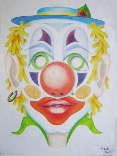Máscara de Payaso en Lápices de Colores. Nash Nash