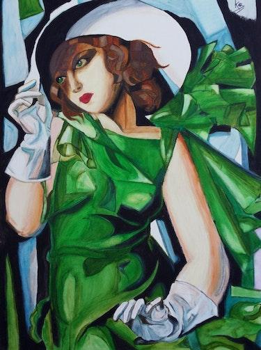 Chica del vestido verde. Fille dans la robe verte.. Carmen Llácer