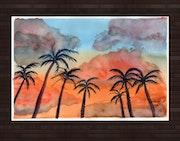 Coucher de soleil sur des Palmiers.