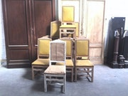 Série de dix chaises campagnardes Fabrication en hêtre massif. Nord Antique