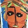 Portrait en papier de soie sur toile. Ema