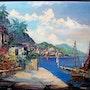 Mediterranean coast with boats. Bert Veenema