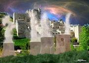 Village medieval a l'heure du nucleaire.