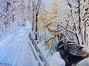 L'hiver au Québec aquarelle n°2.