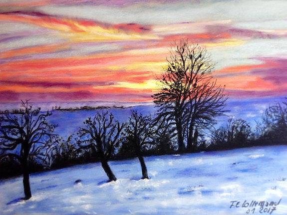 Coucher de soleil en hiver sur la campagne Lorraine.  Françoise-Elisabeth Lallemand