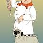 Pug in the kitchen. Illustration & Illusion