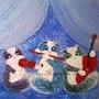 Peinture acrylique «Chats musiciens» sur toile 3d. Oxana Mustafina