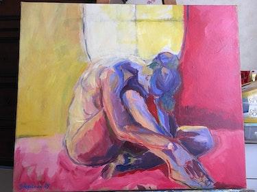 Nu jaune et rouge. Sophie Ropitaux
