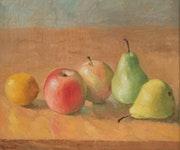 Äpfel, Birnen und Zitrone, Öl auf Leinwand 1991, gerahmt.